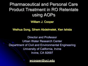 Pharmaceutical and Personal Care Product Treatment in RO ...