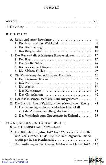 INHALT Vorwort VII I. Einleitung 1 II. DIE STADT A. Reval und seine ...