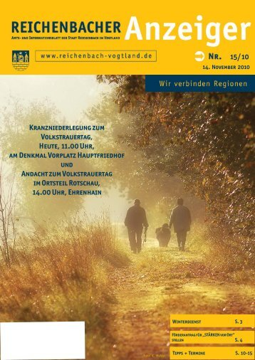 15/10 Kranzniederlegung zum Volkstrauertag, Heute ... - Reichenbach