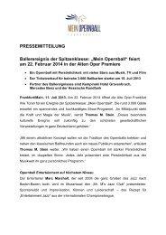 """""""Mein Opernball"""" feiert am 22. Februar 2014 in der Alten Oper ..."""