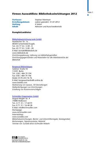 Bibliothekseinrichtungen 2012 (PDF) - OeBiB.de Landesfachstelle ...