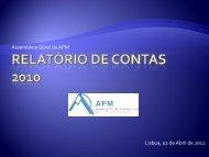 Apresentação de contas - Associação de Professores de Matemática