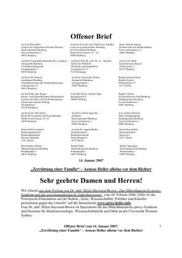 Offener Brief vom 14. Januar 2007 - Petra Heller