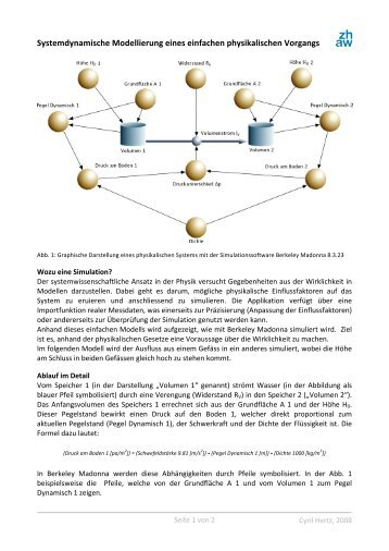 Systemdynamische Modellierung eines einfachen ... - C-hertz.ch