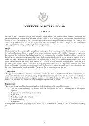 CURRICULUM NOTES - 2013/2014 YEAR 5 - Hall Grove School