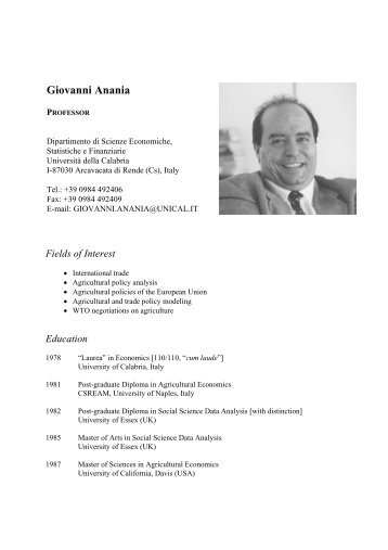Curriculum vitae and publications - Dipartimento di Economia e ...