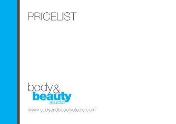 PRICELIST - Body & Beauty Studio