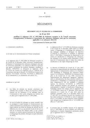 Règlement (UE) no 453/2010 de la Commission du 20 ... - EUR-Lex