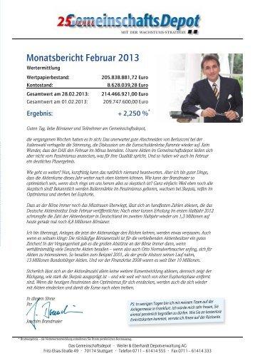 Monatsbericht Februar 2013 - Weiler Eberhardt Depotverwaltung AG