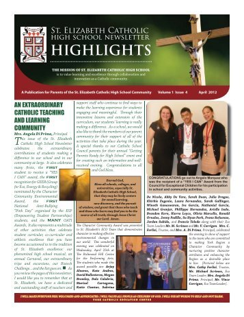 April Newsletter 2012 - St. Elizabeth Catholic High School - the York ...