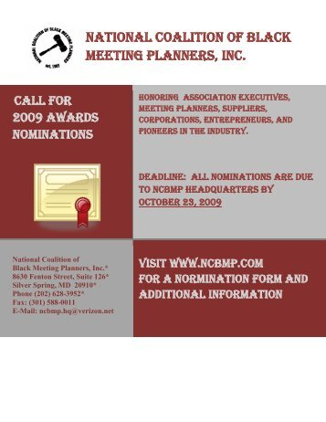 national coalition of black meeting planners, inc. awards nomination ...