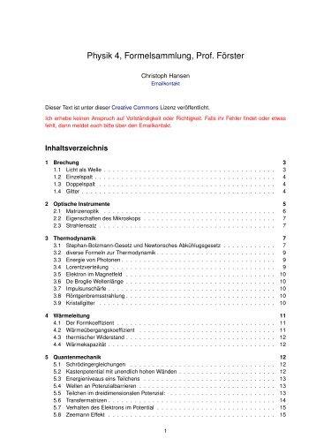 Physik 4, Formelsammlung, Prof. Förster