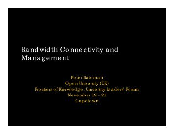 Bandwidth Connectivity and Management - Partnership for Higher ...