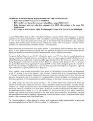 The Sherwin-Williams Company Reports First Quarter 2008 ...