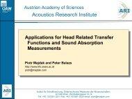 t - Acoustics Research Institute - Österreichische Akademie der ...