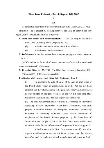 Bihar Inter University Board - Education Department of Bihar