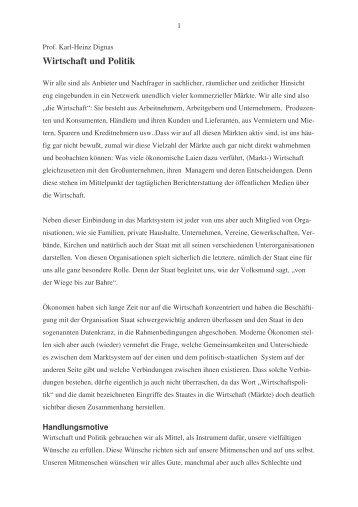 Wirtschaft und Politik - Karl-Heinz Dignas