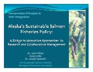 Conservation Principles & their Integration - State of the Salmon