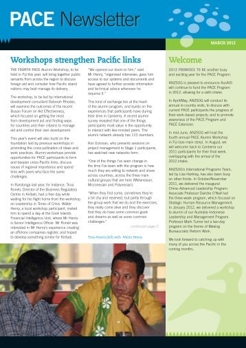 PACE Newsletter - Australia and New Zealand School of Government