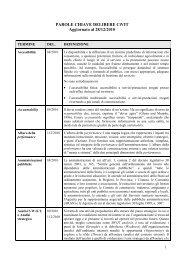 Parole chiave delibere CiVIT - Ministero per i Beni e le Attività Culturali