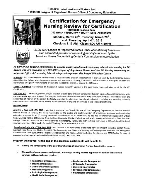 Certification For Emergency Nursing Review For Certification