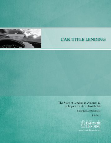 Center for Responsible Lending Car Title Loans Report