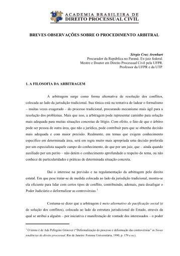 o procedimento arbitral - Academia Brasileira de Direito Processual ...