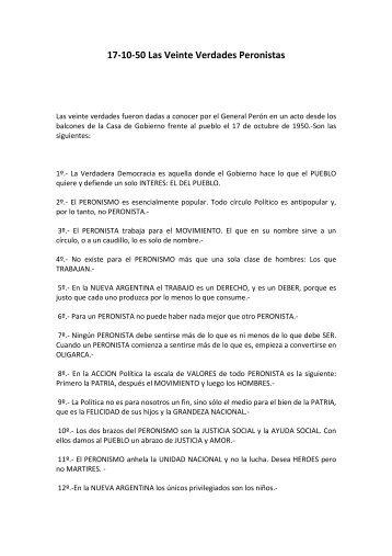17-10-50 Las Veinte Verdades Peronistas - Movimiento Peronista