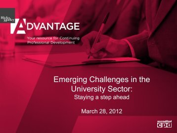 Emerging Challenges in the University Sector: - Hicks Morley