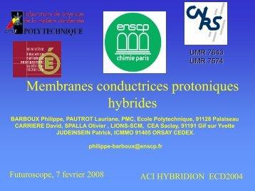Membranes protoniques conductrices hybrides