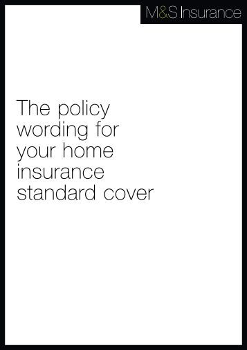 Home Ins standard policy booklet - M&S Bank - Marks & Spencer