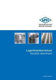 Lagerliste Aluminium Stocklist aluminum - easy systems