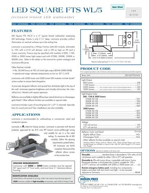LED SQUARE FTS WL/5 - Edison Price Lighting