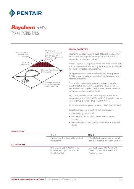 TANK HEATING PADS - Pentair Thermal Management