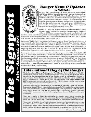 July 2007 Signpost - Park Rangers Association of California