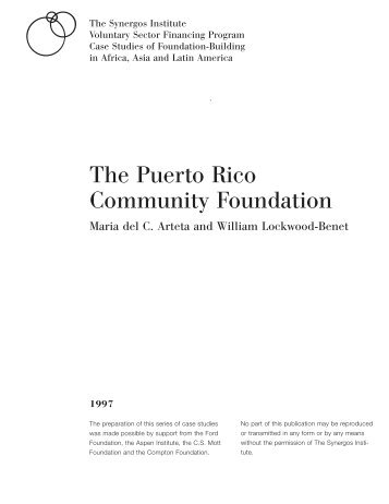 The Puerto Rico Community Foundation: A Case Study - Synergos