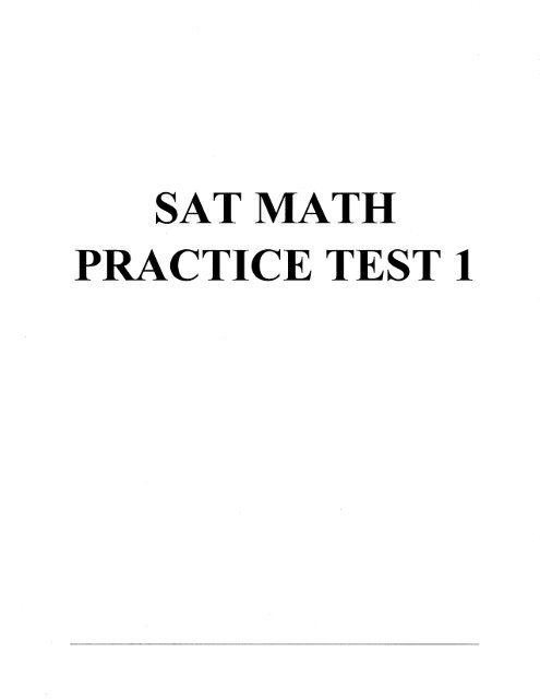 SAT MATH PRACTICE TEST 1 - Swampscott High School
