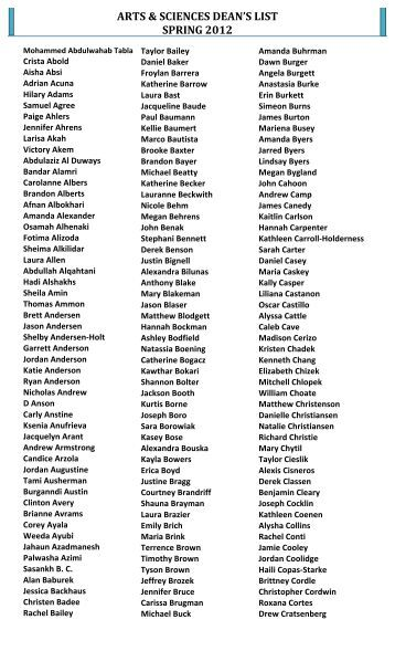arts & sciences dean's list spring 2012