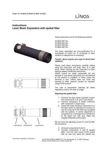 Instructions laser beam expander - Qioptiq Q-Shop