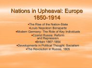 Nations in Upheaval: Europe 1850-1914 - Markville Secondary School