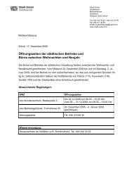 Öffnungszeiten der städtischen Betriebe und Büros ... - Stadt Zürich