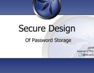 Secure design - Secure Application Development