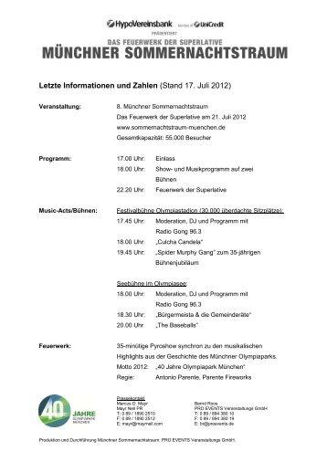 Letzte Presse-Infos (17.7.12) zum Münchner Sommernachtstraum