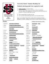 University School - Summer Reading List Students entering grade 8 ...