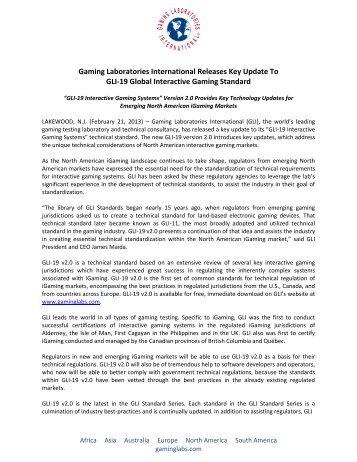 Gaming Laboratories International Releases Key Update To GLI-19 ...