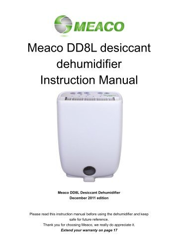 Meaco DD8L desiccant dehumidifier Instruction Manual