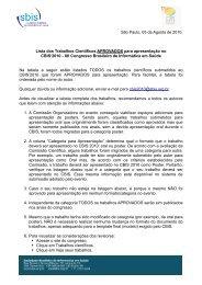 Listagem e informações dos trabalhos do CBIS 2010 - ITpack