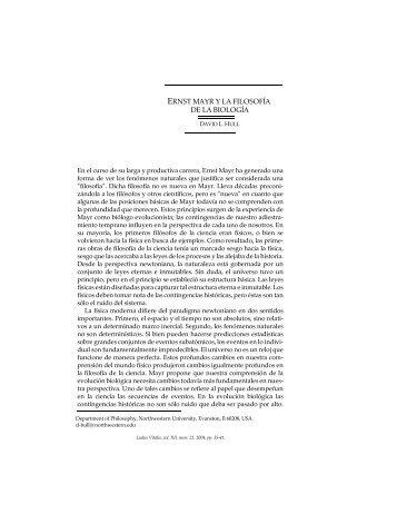 ERNST MAYR Y LA FILOSOFÍA DE LA BIOLOGÍA - Ludus Vitalis