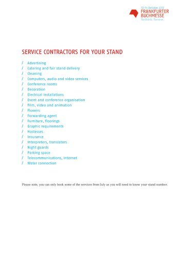 service contractors for your stand - Frankfurter Buchmesse