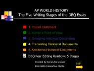 AP WORLD HISTORY The Five Writing Stages of the DBQ Essay